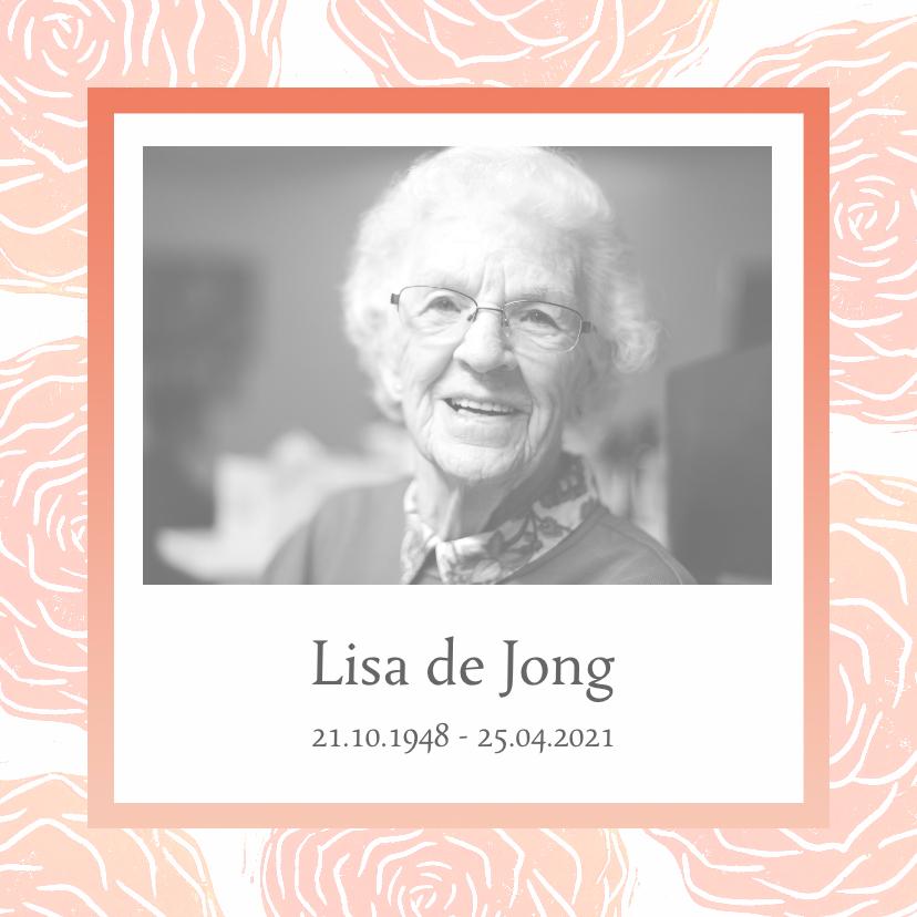 rouwkaarten met foto en rozen